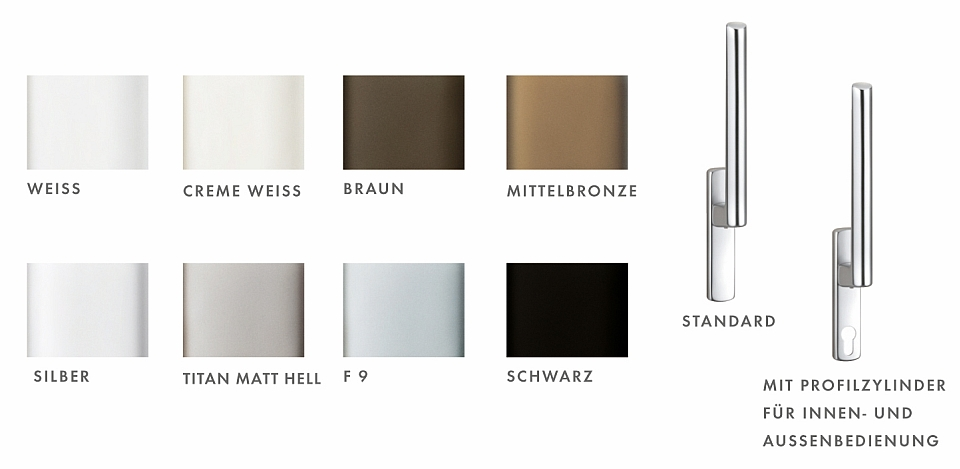 HS PORTAL Hebel und Beschlagabdeckung Farbvarianten, Deutsch